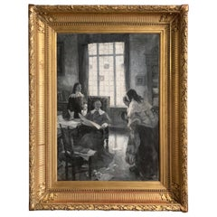 19th Century French Black and White Painting in Gilt Frame Signed Leon Fauret