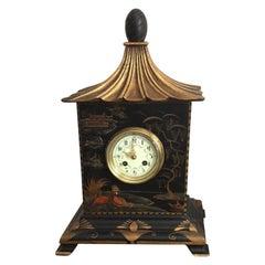 19th Century French Black Chinoiserie Chiming Pagoda Clock, circa 1880
