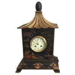 19th Century French Black Chinoiserie Pagoda Clock