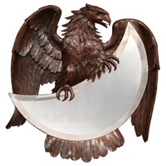 19th Century French Black Forest Carved Eagle Sculpture Wall Mirror