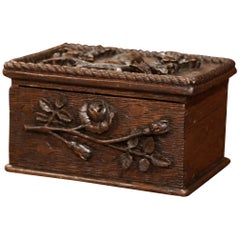 19th Century French Black Forest Carved Oak Letter Box with Foliage Decor