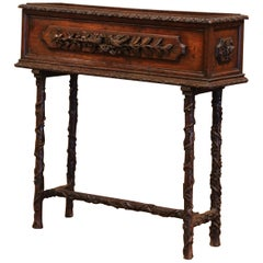 19th Century French Black Forest Carved Plant Stand with Bird and Vine Decor