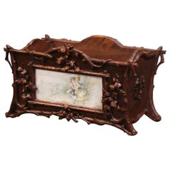 19th Century French Black Forest Carved Walnut and Porcelain Jardinière