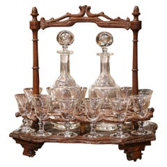 19th Century French Black Forest Carved Walnut Cave a Liqueur, Complete Set
