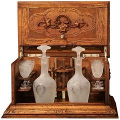 19th Century French Black Forest Carved Walnut Cave a Liqueur with Cigar Holders