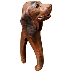 19th Century French Black Forest Carved Walnut Dog Nut Cracker with Glass Eyes