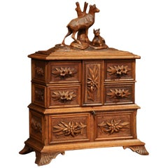 19th Century French Black Forest Carved Walnut Jewelry Box with Deer and Drawers