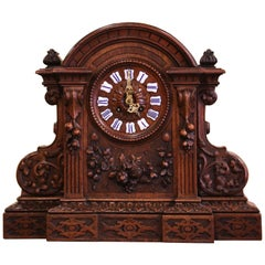 19th Century French Black Forest Carved Walnut Mantel Clock