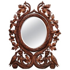 19th Century French Black Forest Carved Walnut Mirror with Bird and Grape Decor