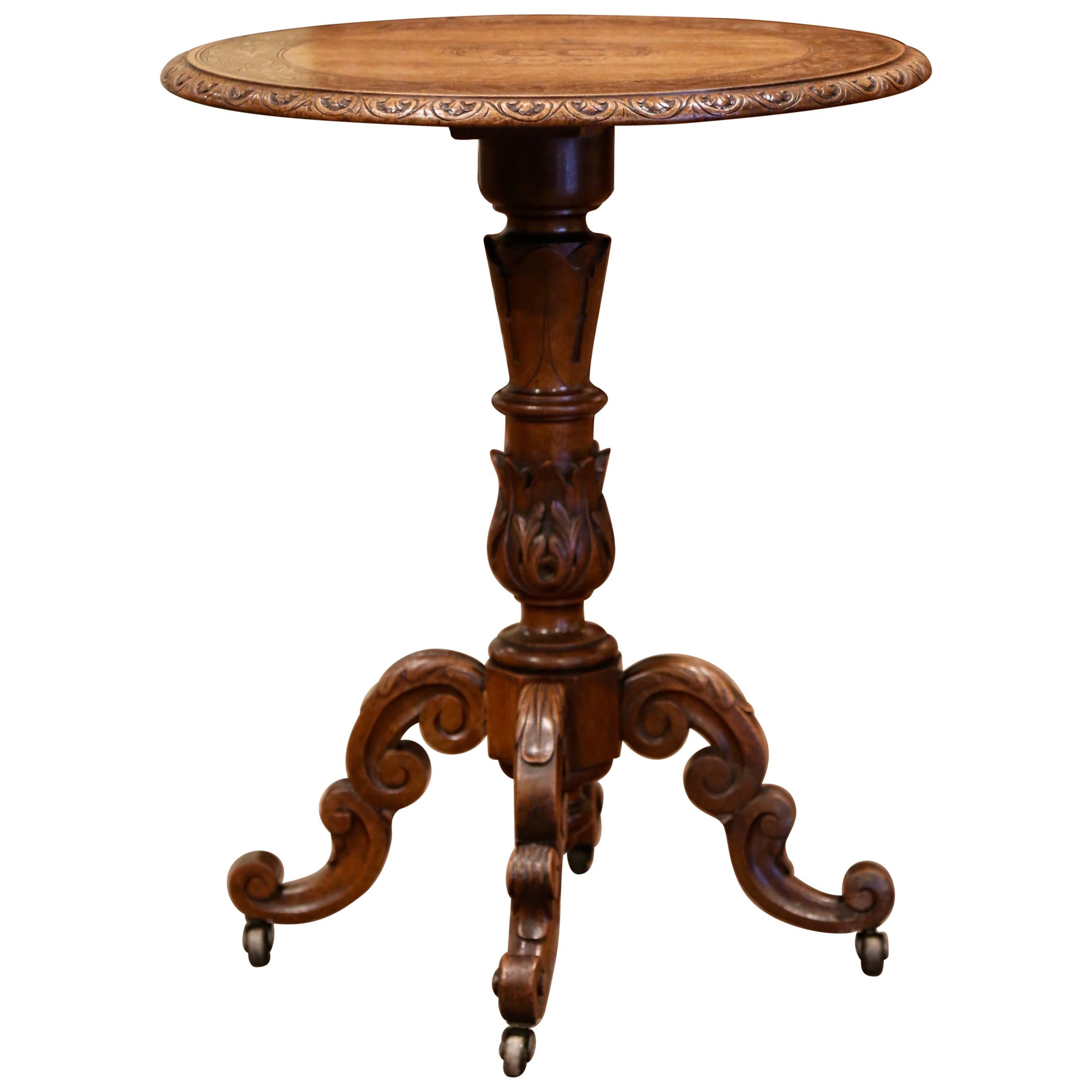19th Century French Black Forest Carved Walnut Pedestal Table with Vine Decor