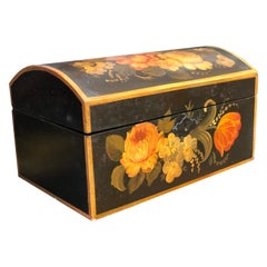 19th Century French Black Hand Painted Wooden Box Decorated with Flowers