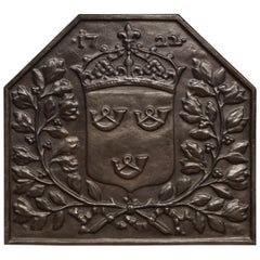 19th Century French Black Iron Fireback with Crown Family Crest and Foliage