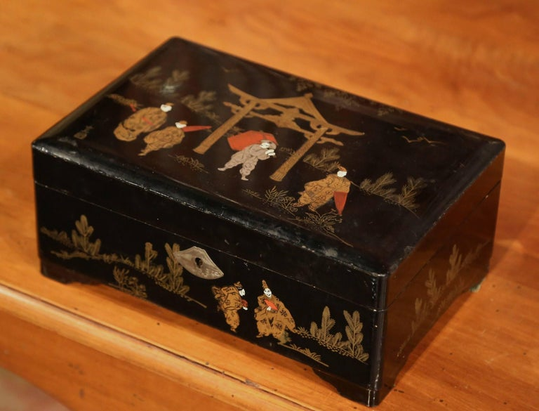 19th Century French Black Lacquered Make Up Music Box With