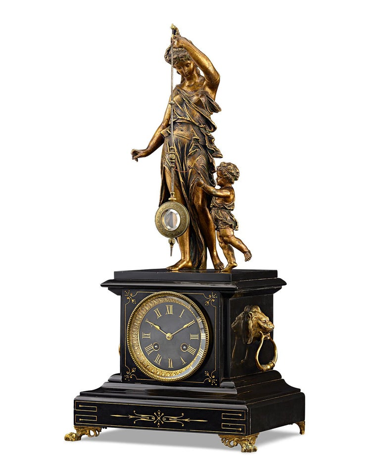 This rare and elegant 19th-century French mystery clock is crowned by a graceful Neoclassical bronze of Ceres, the Roman goddess of agriculture and motherhood. The maternal figure gracefully supports a pendulum terminating in a glass bob, while a