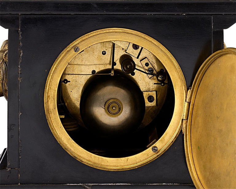 19th Century French Black Marble and Bronze Mystery Clock For Sale 1