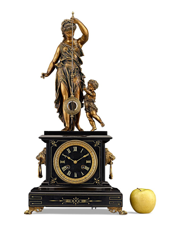 19th Century French Black Marble and Bronze Mystery Clock For Sale 4