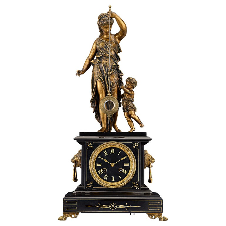 19th Century French Black Marble and Bronze Mystery Clock For Sale