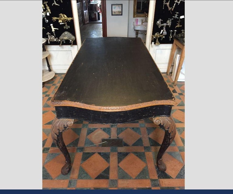 19th Century French Black Painted Dining Room Set With Six