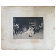 19th Century French Black & White Print after Original Painting by Adrien Moreau