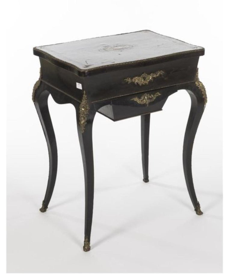 19th Century French Black Wooden Working Table with Brass Decoration For Sale 7