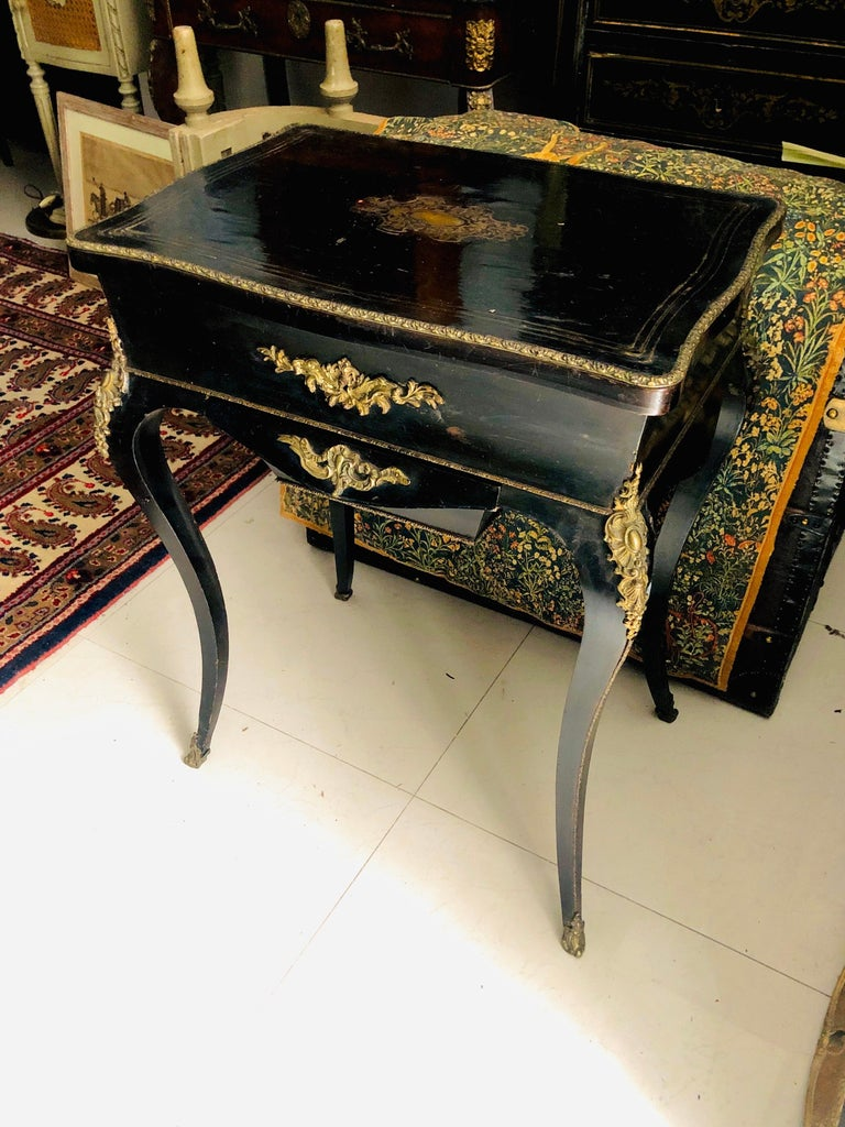 19th Century French Black Wooden Working Table with Brass Decoration For Sale 9