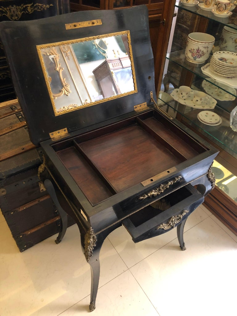 Napoleon III 19th Century French Black Wooden Working Table with Brass Decoration For Sale