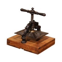 19th Century French Black Wrought Iron and Brass Binding Press on Oak Base