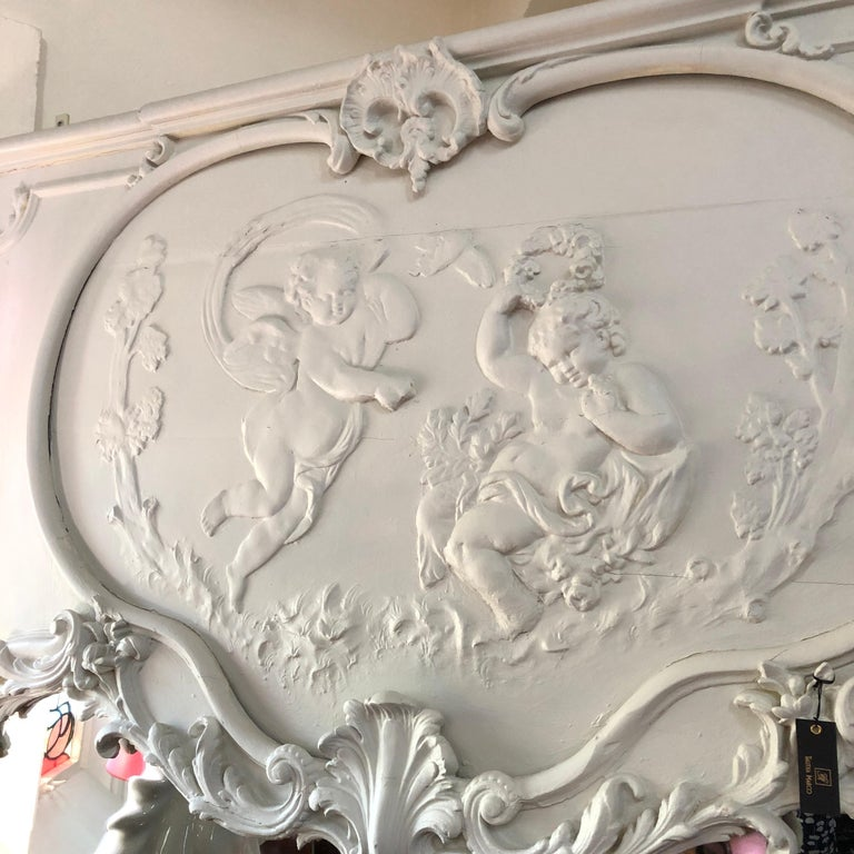 Louis XV 19th Century, French Blanc Putti / Ange Theatre over Mantle Mirror For Sale