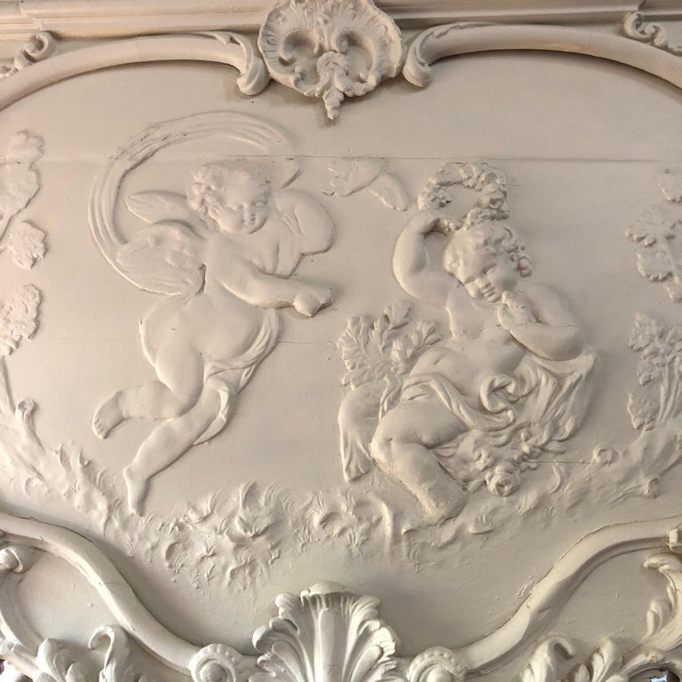 Hand-Carved 19th Century, French Blanc Putti / Ange Theatre over Mantle Mirror For Sale