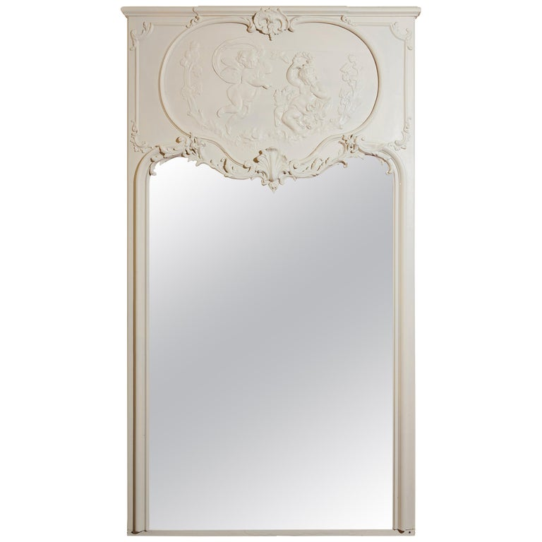 19th Century, French Blanc Putti / Ange Theatre over Mantle Mirror For Sale