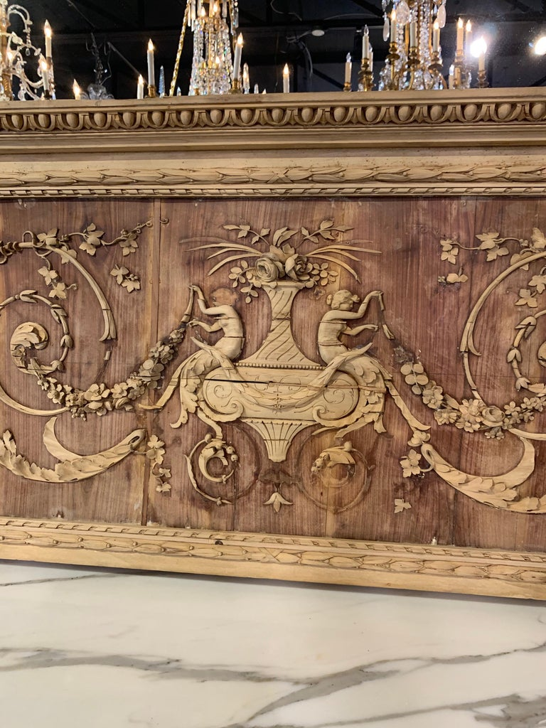 19th Century French Bleached and Carved Neoclassical Panel In Good Condition For Sale In Dallas, TX