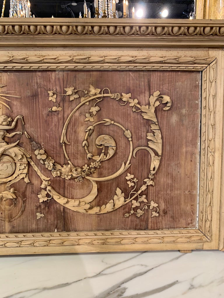 Wood 19th Century French Bleached and Carved Neoclassical Panel For Sale