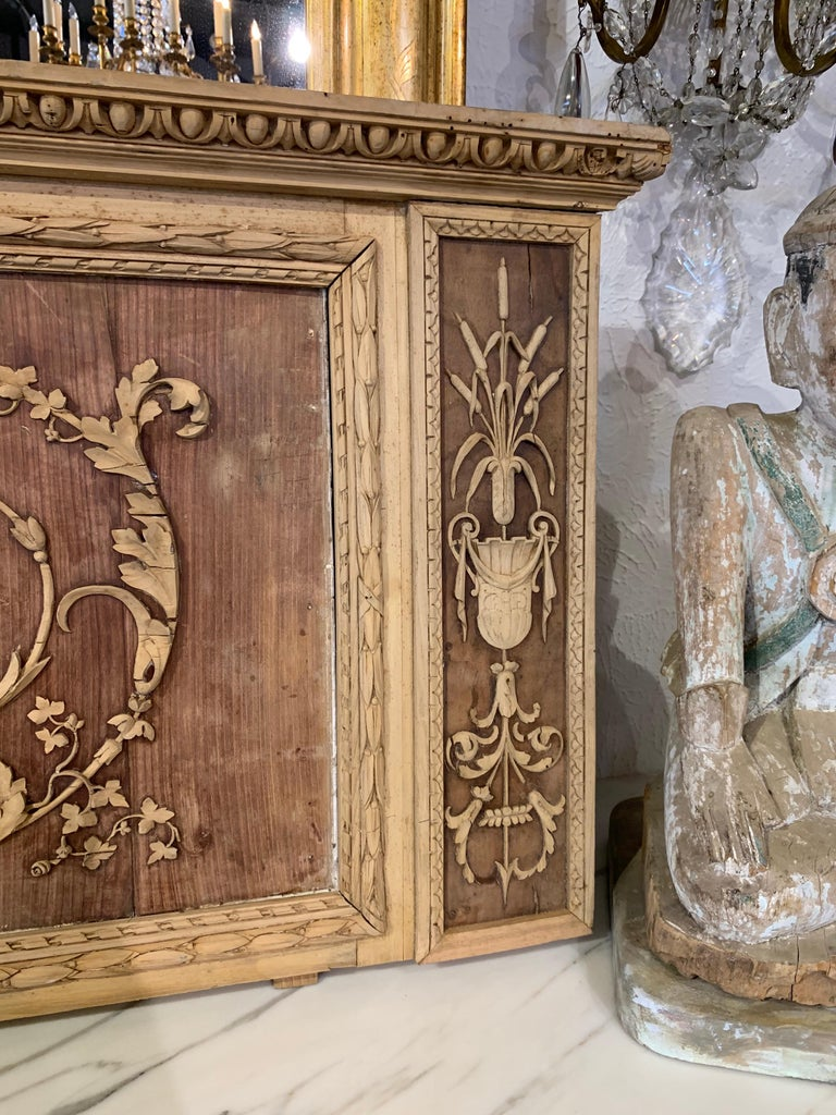 19th Century French Bleached and Carved Neoclassical Panel For Sale 1