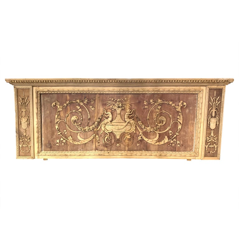 19th Century French Bleached and Carved Neoclassical Panel For Sale