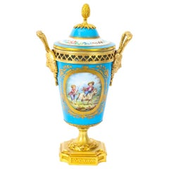 19th Century French Bleu Celeste Ormolu Mounted Sevres Lidded Vase
