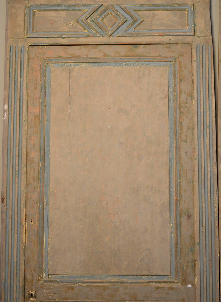 19th Century French Blue and White Painted Paneling with Two Doors For Sale 2