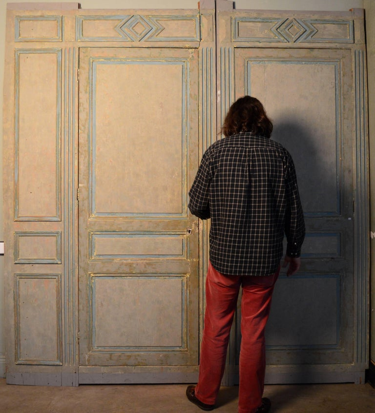 19th Century French Blue and White Painted Paneling with Two Doors For Sale 3