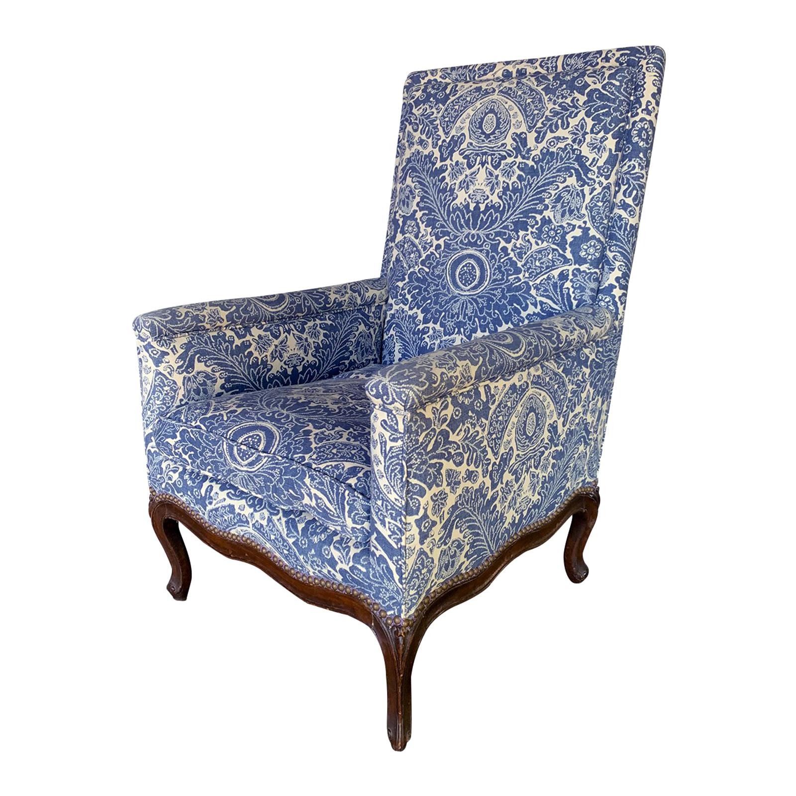 19th Century French Blue and White Upholstered Armchair