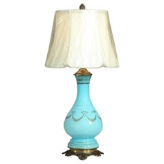 19th Century French Blue Opaline Glass Oil Lantern, Lamp