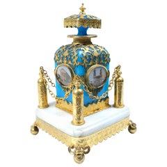 19th Century French Blue Opaline Perfume Bottle