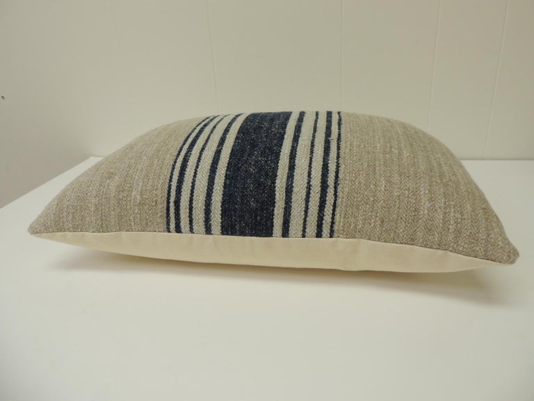 French Provincial 19th Century French Blue Stripes Decorative Grain Sack Lumbar Pillow For Sale
