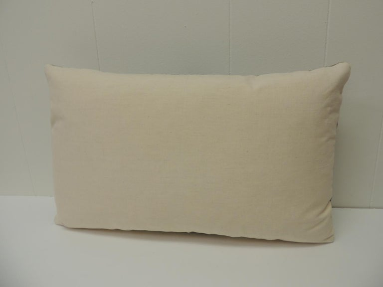 Hand-Crafted 19th Century French Blue Stripes Grain Sack Decorative Lumbar Pillow For Sale