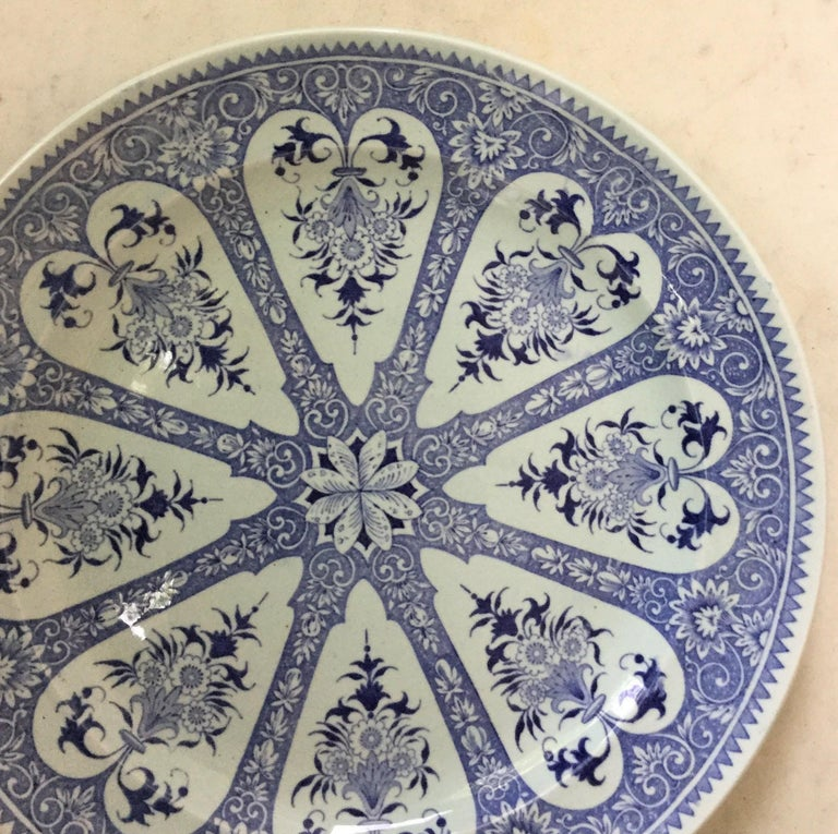 French Provincial 19th Century French Blue and White Faience Dinner Plate Sarreguemines For Sale