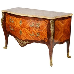 19th Century French Bombe Fronted Louis XVI Style Commode