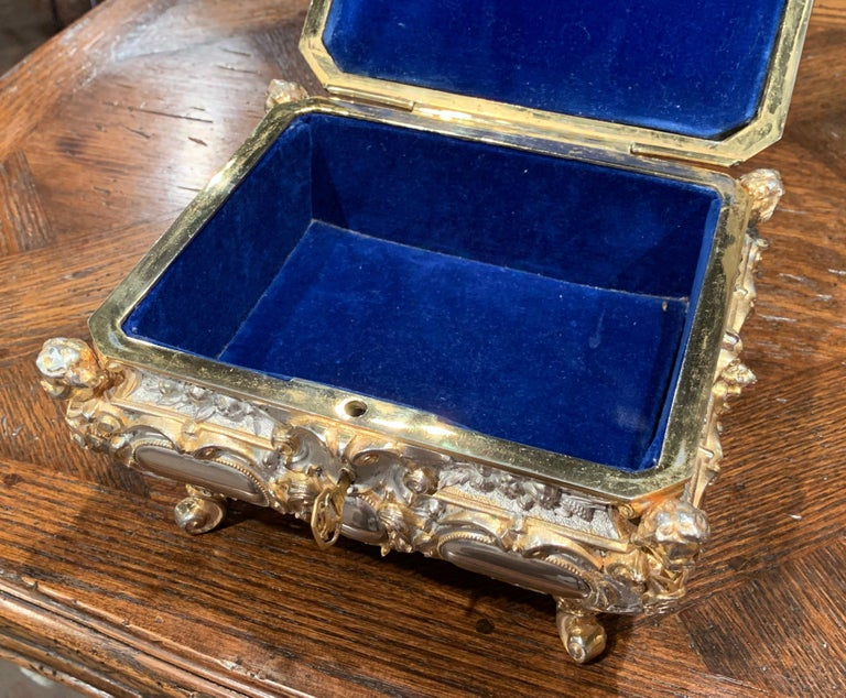 Hand-Crafted 19th Century French Bombe Silver on Copper Ornate Repousse Jewelry Casket For Sale