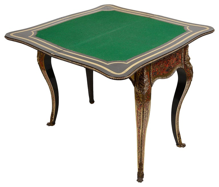 Brass 19th Century French Boulle Card Table For Sale