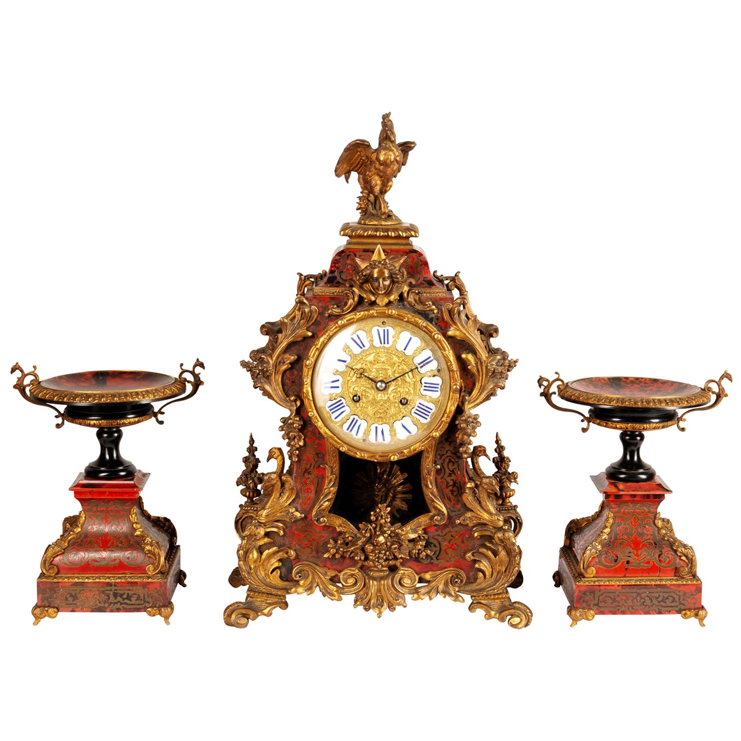 19th Century French Boulle Clock Set