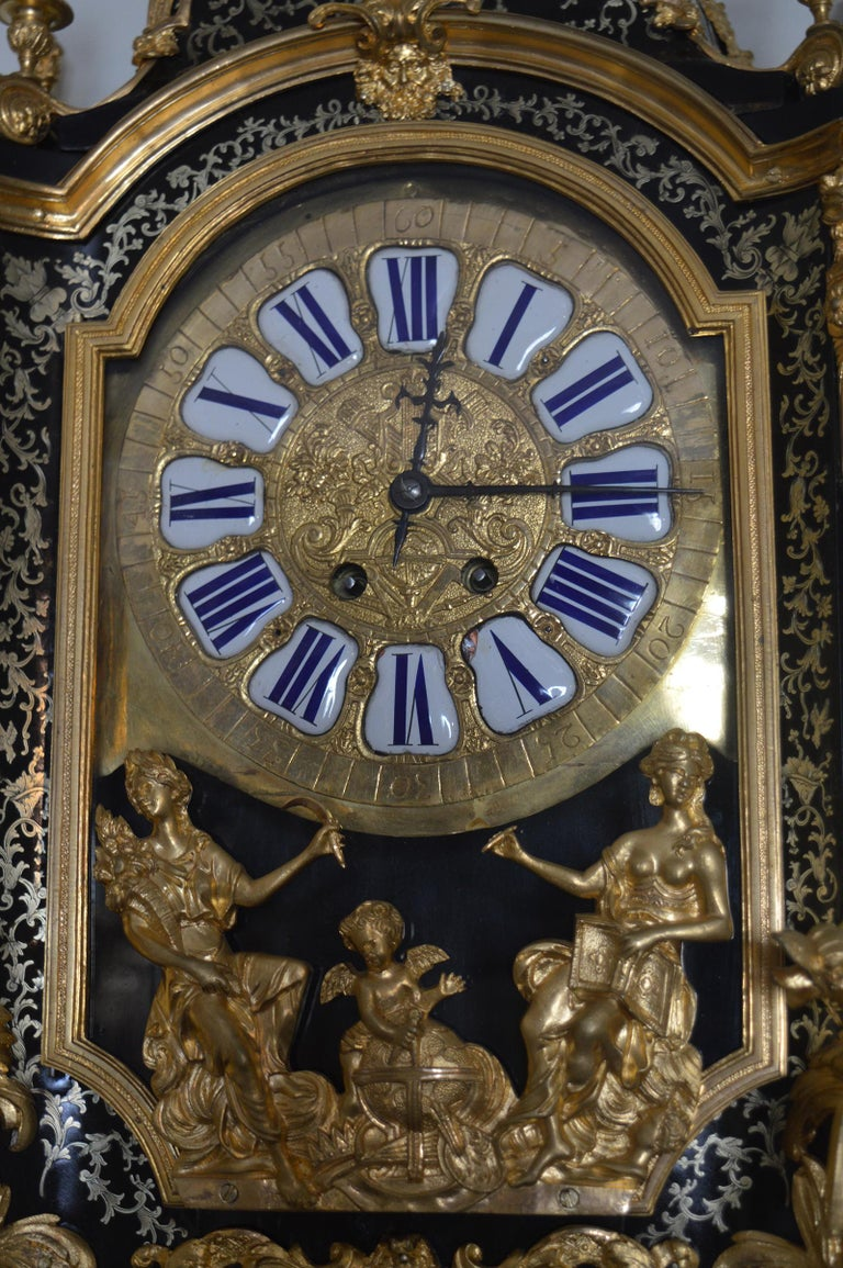 19th Century French Boulle Clock with Pedestal In Excellent Condition For Sale In Los Angeles, CA