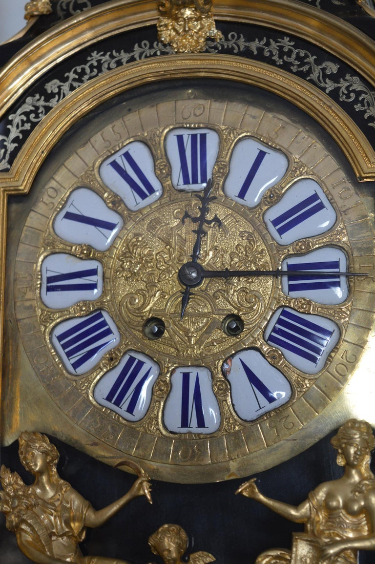 Metal 19th Century French Boulle Clock with Pedestal For Sale