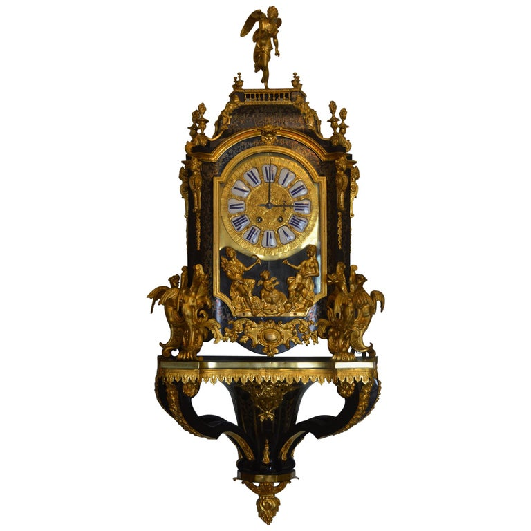 19th Century French Boulle Clock with Pedestal For Sale